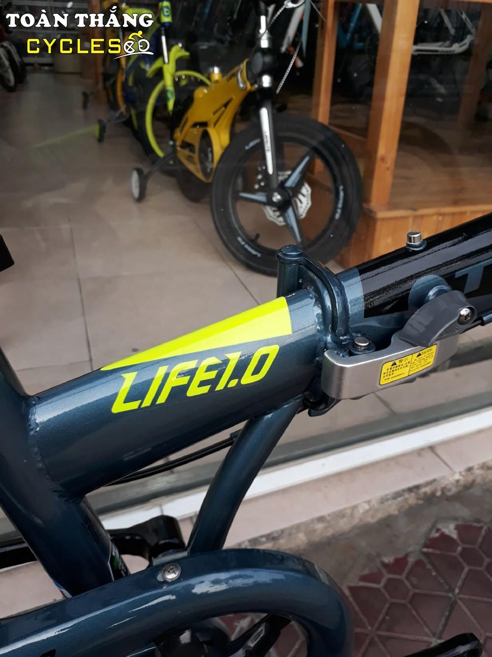 Xe đạp gấp LIFE 1.0 2018 Grey Black Yellow
